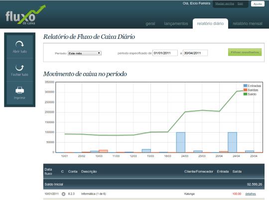 Screenshot Fluxo de Caixa Online